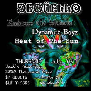 Gig poster for Heat of the Sun, Dynamite Boyz, Embrace the Moment and Deguello.