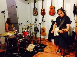 Jordan and Fern in studio Aug 2014 Heat of the Sun band.