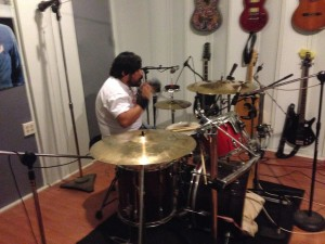 Danny Castillo (Slo-Poke) on Drums and vocals  'Dune Buggy 'in Spears Studios 8-2014