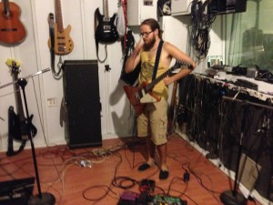 Jordan Green of Heat of the Sun, in studio on Dune Buggy project 8-2014